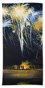 Fireworks Bonfire On The West Bar Beach Towel