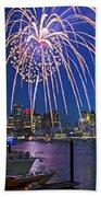 Fireworks Over The Boston Skyline Boston Harbor Illumination Streaming Down Beach Towel