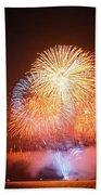 Fireworks Over The Golden Gate Bridge Beach Towel
