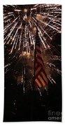 Fireworks With Flag Beach Towel