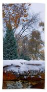 First Colorful Autumn Snow Beach Towel