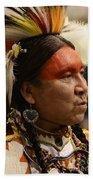 Pow Wow First Nations Man Portrait 1 Beach Towel