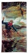 Fisherman By Stream Beach Towel