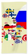 Fishes Map Of Europe Beach Towel