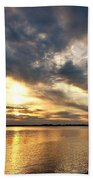 Fishing At Sunset Beach Towel