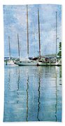 Fishing Bay Reflections Beach Towel