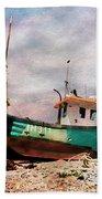 Fishing Boat At Aldeburgh Beach Towel