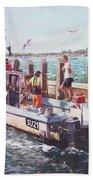 Fishing Boat At Mudeford Quay Beach Towel by Martin Davey