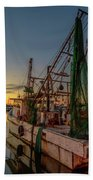 Fishing Boat At Sunset Beach Towel