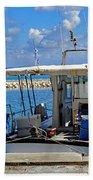 Fishing Boat Moored In The Harbor Of Katakolon Greece Beach Towel