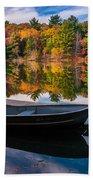 Fishing Boat On Mirror Lake Beach Towel