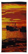 Fishing Boats At Sunset Beach Towel