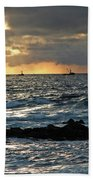 Fishing Boats Off Point Lobos Beach Towel