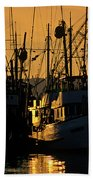 Fishing Boats Sunset Light Beach Towel