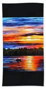 Fishing By Sunset Beach Towel
