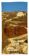 Fishing Town On A Hill Beach Towel