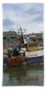 Fishing Trawler Wy 485 At Whitby Beach Towel by Rod Johnson