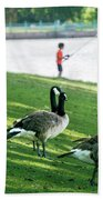 Fishing With The Geese Beach Towel