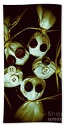 Five Halloween Dolls With Button Eyes Beach Towel