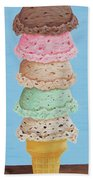 Five Scoop Ice Cream Cone Beach Towel