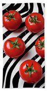 Five Tomatoes  Beach Towel by Garry Gay