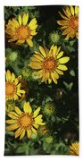 Five Yellow Flowers  Beach Towel