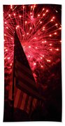 Flag And Fireworks Beach Towel