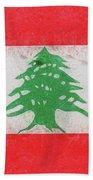 Flag Of Lebanon Grunge Beach Towel