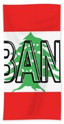Flag Of Lebanon Word Beach Towel
