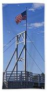 Flag On Perkins Cove Bridge - Maine Beach Sheet