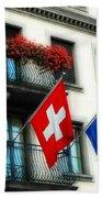 Flags Of Switzerland And Zurich Beach Towel