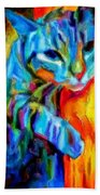 Flaming Blue And Orange Kitty Cat Tiger Resting Gently From The Prowl Beach Towel
