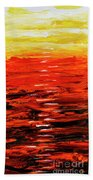 Flaming Sunset Abstract 205173 Beach Towel by Mas Art Studio