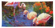 Flamingo Tangerine Dream Beach Towel