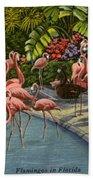 Flamingos Vintage Postcard Beach Towel