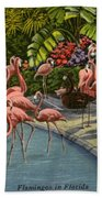 Flamingos Vintage Postcard Beach Sheet