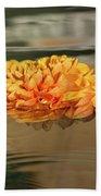 Floating Beauty - Hot Orange Chrysanthemum Blossom In A Silky Fountain Beach Towel