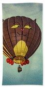 Floating Cat - Hot Air Balloon Beach Towel