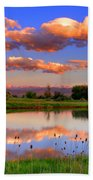Floating Clouds And Reflections Beach Towel