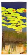 Floating Lily Pond Beach Towel