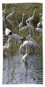 Flock Of Different Types Of Wading Birds Beach Towel