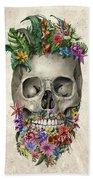 Floral Beard Skull Beach Towel