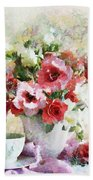Floral Bouquet Table Setting In Tiny Bubbles Beach Towel