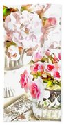 Floral Bouquets Pink Roses  Beach Towel