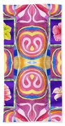 Floral Collage Daffodil Hibiscus Poppy Lily Beach Towel