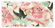 Floral Cranes Beach Towel