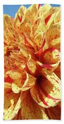 Floral Dahlia Flower Art Print Orange Red Dahlias Baslee Beach Towel