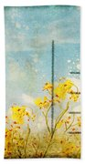 Floral In Blue Sky Postcard Beach Towel by Setsiri Silapasuwanchai