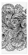 Black And White Floral Indian Pattern Beach Towel