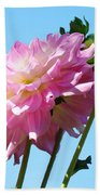 Floral Landscape Art Print Pink Dahlia Flower Blue Sky Canvas Baslee Troutman Beach Towel
